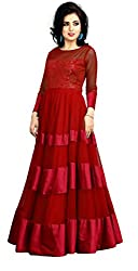 Jiya Presents Soft Net Stitched Gown(Red)