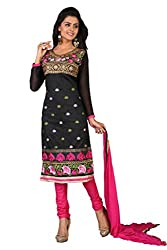 Parisha Black Chanderi Embroidered Straight Unstiched Dress Material