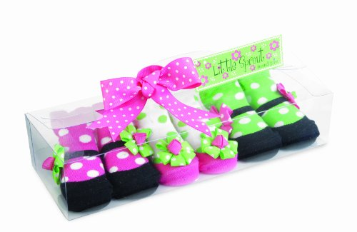 Mud Pie Baby Little Sprout Mary Jane Style Decorated Cotton Socks, Pink/Green, 0 - 12 Months, Set Of 3