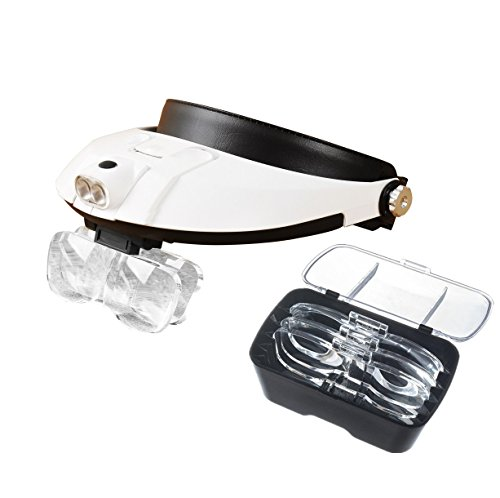 Beileshi Handsfree Head Mount Magnifier with Detachable LED Head Lamp – 5 Replaceable and Interchangeable Magnifying Lenses Come in Different Magnification Power