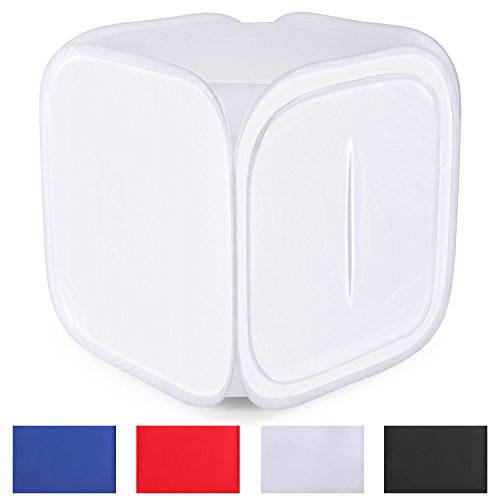 Neewer 60x60 cm / 24''x24'' Tenda Luce per Foto Studio Fucilazione Cube Diffusione Borsa Morbida Kit con 4 Colori Fondali per Fotografia (Rosso Scuro Blu Nero Bianco)