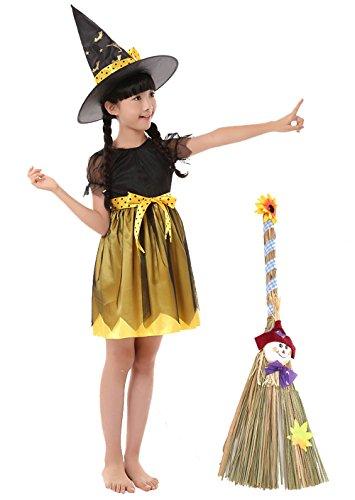 魔法のほうき 魔女ドレス とんがり帽子 リボンベルト 4点セット ハロウィン キッズコスチューム 子供 キッズ コスプレ 仮装 衣装帽子 女の子 ワンピース 黄色い魔女 … (Ⅼ:130)