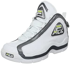 Fila Men's 96 Basketball Shoe,White/Castle Rock/Lime Punch,7.5 M US