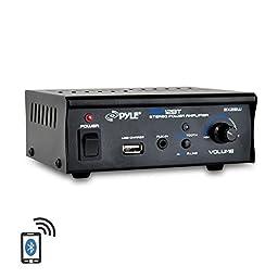 Pyle PCA12BT Bluetooth Mini Blue Series Stereo Power Amplifier, 2 x 25 Watt, USB Charge port, AUX (3.5mm) Input Connector Jack