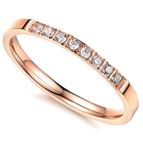 (キチシュウ)Aooazジュエリー レディースステンレスリング指輪 CZダイヤモンド入り ピンクゴールド エレガントデザイン 高品質のアクセサリー 日本サイズ7号(USサイズ4号)