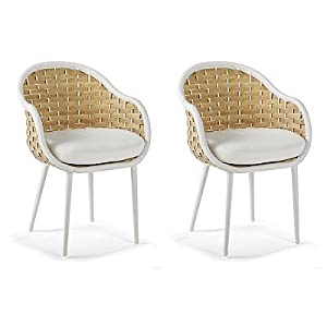 Amazon.com : Ravello Set of Two Dining Chairs with Cushions by Porta