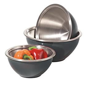 Oggi 3 Piece Stainless Steel Mixing Bowl Set with Plastic Exterior and Airtight Lid, Black