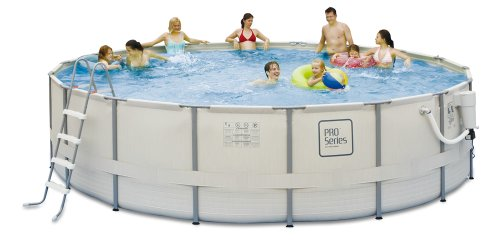 Polygroup PRO Series 18 ft. Round 52 in. Deep Metal Frame Swimming Pool Package