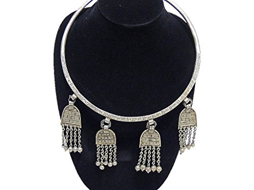 [Belly Dancer Neck Ring Accessory - Handcrafted Metal Long Pendants Large Necklace] (Banjara Dance Costumes)