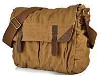 SERBAGS Classic Vintage Brown Canvas Messenger Bag
