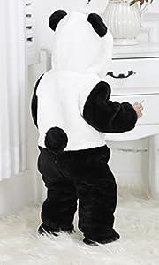 Hip-hop cat invierno traje de manga larga cremallera Pijama disfraz de animal mono pelele infantil con capucha para bebés niños niñas unisex talla 100 - panda franela