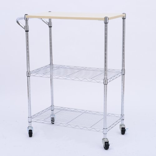 "Homcom 24"" Portable Rolling Wire Shelf Wood Top Kitchen Storage Trolley front-562776"