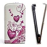 Butterfly Handy Tasche Flip Case Schutz Hülle für Samsung S5360 Galaxy Y / Young Flower Design Muster QJC-132 Cover Etui Bag Neu