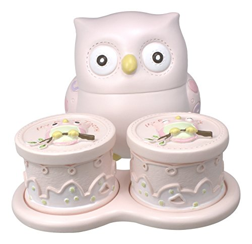 Bundle of 2 Lillian Rose Keepsake Baby Items - First Tooth & Curl Box and Coin Bank (Pink Owl)
