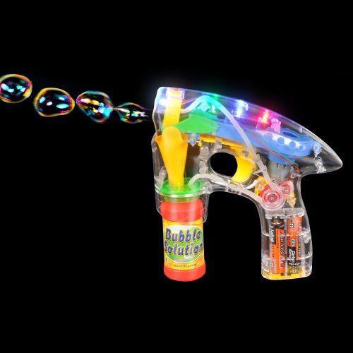 LIGHT-UP LED BUBBLE GUN BLASTER w/ BUBBLES AND BATTERIES
