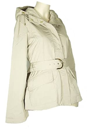 Rainforest - Women's Short Khaki Belted Hooded Raincoat (Medium)