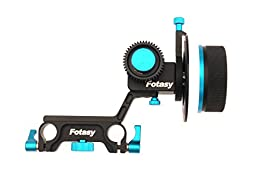Fotasy Upgraded DP500 15mm Rod Rig Follow Focus for HDSLRs Camcorders, Blackmagic Canon Nikon Sony Panasonic DSLRs