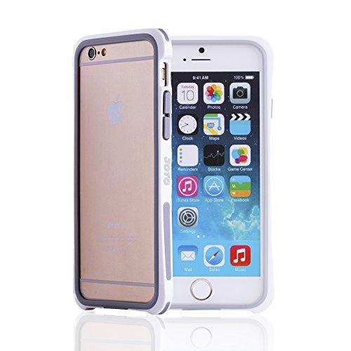 "JOTO iPhone 6 4.7 Bumper Case - Premium Hybrid Bumper Case Exclusive for Apple iPhone 6 4.7"" (2014), Dual layer bumper case for iPhone 6 (White PC + Grey TPU) - 1"