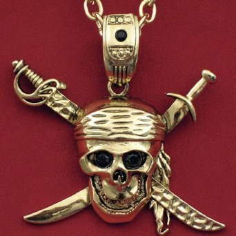 Antique Gold Pirate Skull Necklace