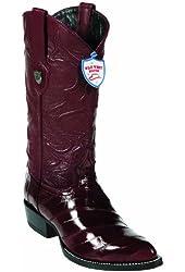 Eel Skin Western Style Boot, Burgundy, J Toe, Leather Sole,