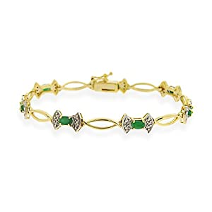 Gold Tone over Sterling Silver Genuine Emerald & Diamond Accent Bow Bracelet