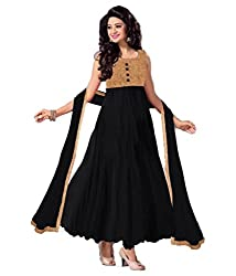 Decent World Fancy Black Net Embroidered Unstitched Style Dress Material