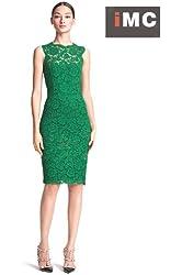 Imixcity Women's Dress Lace Sleeveless Evening Slim Green Size L