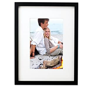 Lawrence Frames Black Wood 6 by 8 Picture Frame Matted to 4 by 6