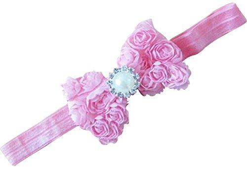 PinkXenia Mesh Yarn pink Baby Bow Flower elastic newborn Soft headband