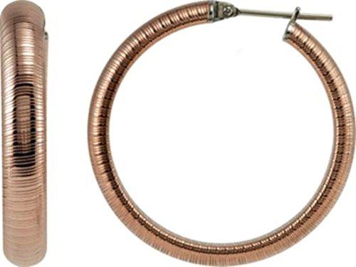Amalfi Stainless Steel Half Round Textured Hoop Earrings