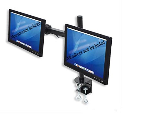 Dual LCD Monitor Stand desk clamp holds up to 24-Inch lcd monitors (Pedestal For Desk compare prices)