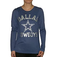 Ladies NFL Dallas Cowboys Crew-Neck Long Sleeve T Shirt by Pink Victoria
