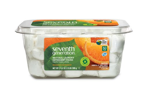 Seventh Generation Natural Laundry Detergent Packs, Mandarin and Sandalwood, 50 Count (pack of 2)