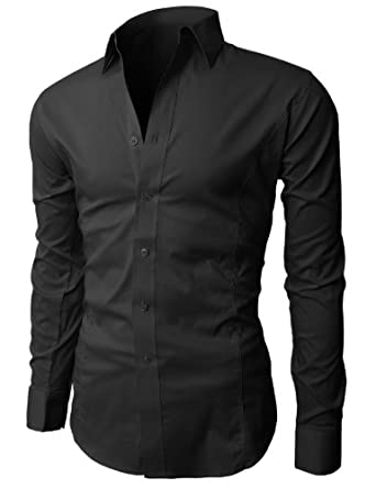 H2H Mens Wrinkle Free Slim Fit Dress Shirts with Solid Long Sleeve BLACK (US S, Asia M) (JASK14)