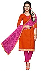 Inddus Women Orange & Pink Unstitched Salwar Kameez