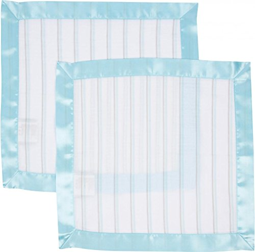 Miracle Blanket MiracleWare Muslin Security Blanket, Blue and Gray Stripes, 2 Pack