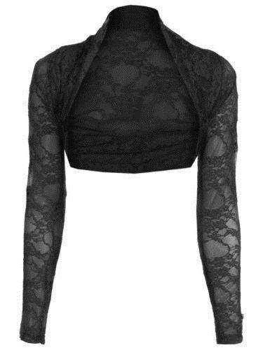Janisramone maglia manica lunga pizzo scrollata di spalle bolero cardigan ritagliata