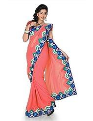 Designersareez Women Chiffon Embroidered Onion Pink Saree With Unstitched Blouse(1198)