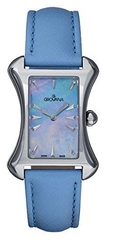 GROVANA - 4422.1535 - Montre Femme - Quartz Analogique - Bracelet Cuir Bleu