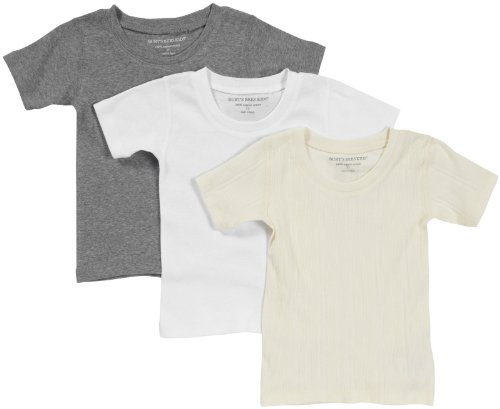 Burt'S Bees Baby Baby Boys' 3-Pk S/S Tee -Ivory/Heather Grey/Cloud - 18 Months front-1027396
