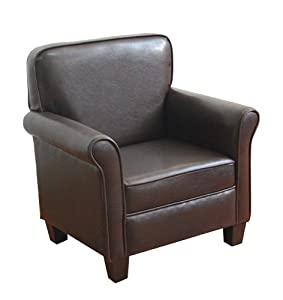 Kinfine kids arm chair dark brown for Toddler leather chair