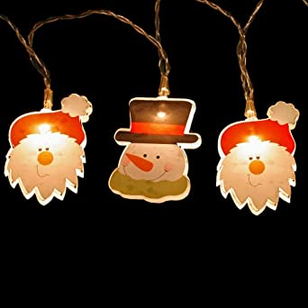 10 Soft White LED SANTA & SNOWMAN Light String - Battery, Dual Power compatible - 2973SSW