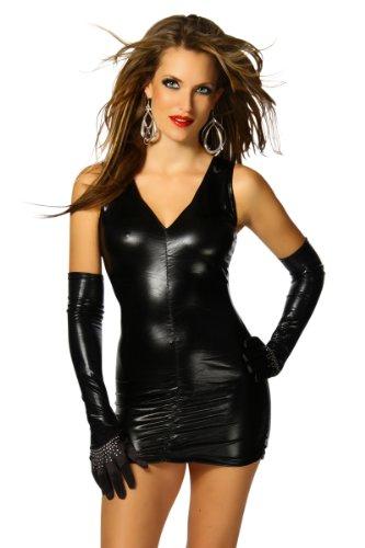 Sexy Leder-Optik Wet-Look Minikleid - Einheitsgröße S,M und L - Schwarz