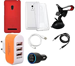 NIROSHA Cover Case Car Charger USB Cable Mobile Holder Charger for ASUS Zenfone 6 - Combo