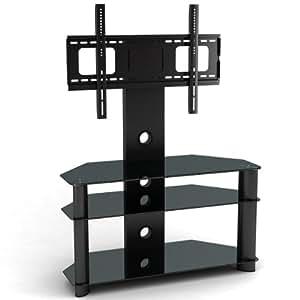 1home - Meuble TV avec support en porte-à-faux pour écran plasma LCD de 32 à 52 pouces Pieds noirs