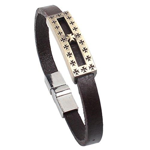 Modern Fantasy Vintage Style Bronze Colour Polished Surface Charming Images Engraved Single Leather Wrap Bracelet (Agio Cross)