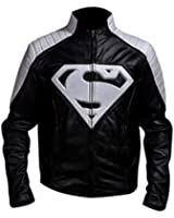 Leather Icon Cosplay Superman Black and Grey Jacket