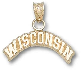Wisconsin Badgers Arched Wisconsin Pendant - 14KT Gold Jewelry by Logo Art