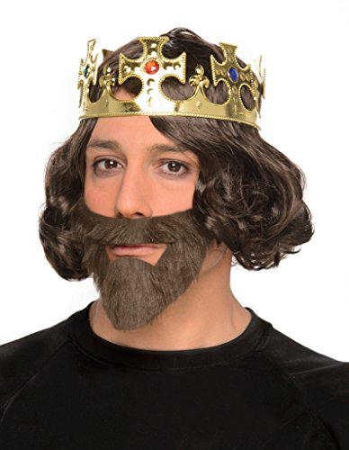 Men's Medieval Era Knight Crown, Wig, and Beard Combo - One Size - Halloween (Adult African King Costume)