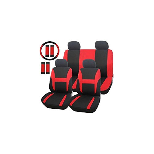 Adeco 13-Piece Car Vehicle Protective Seat Covers, Universal Fit, Black With Bright Red Details front-425176